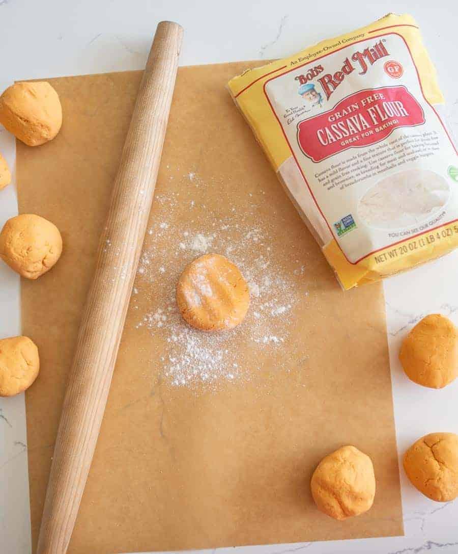cassava flour tortilla before rolling out