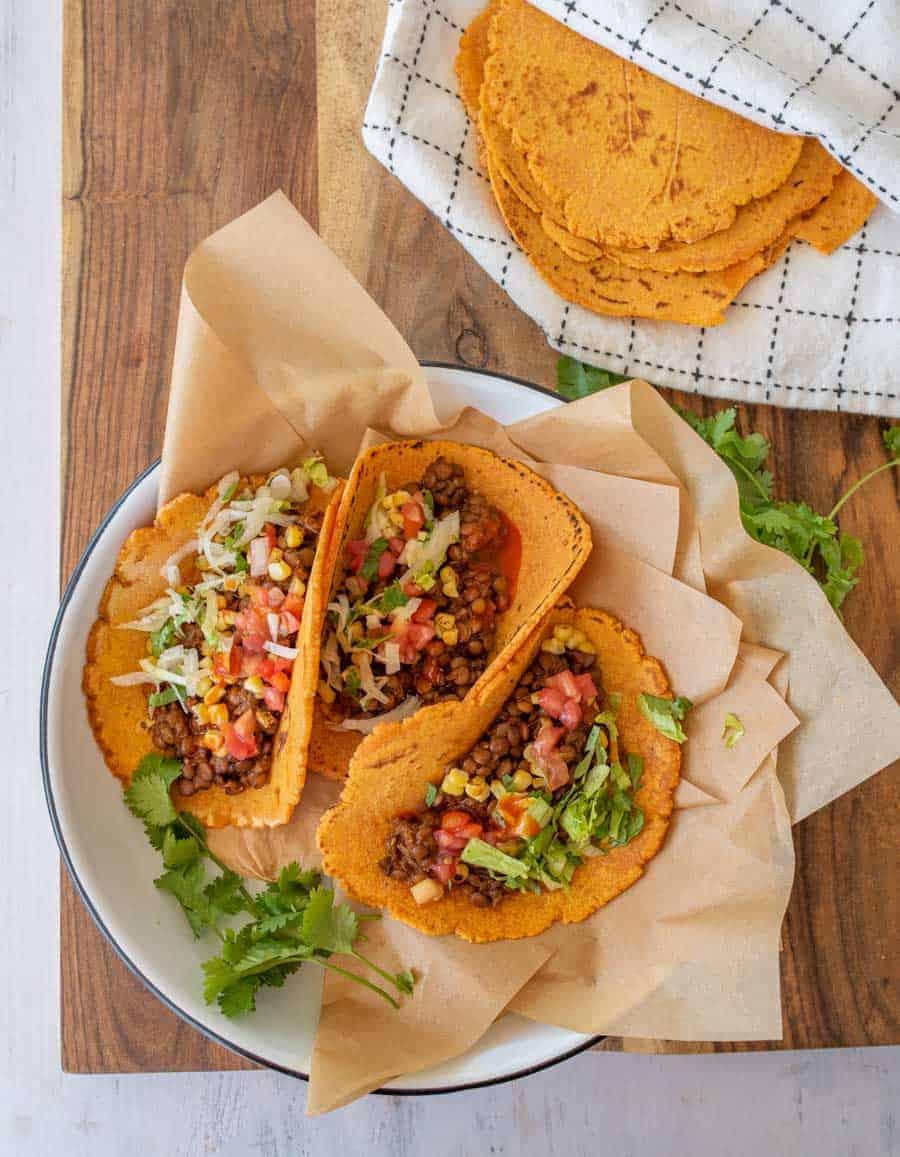 lentil tacos in cassava tortillas
