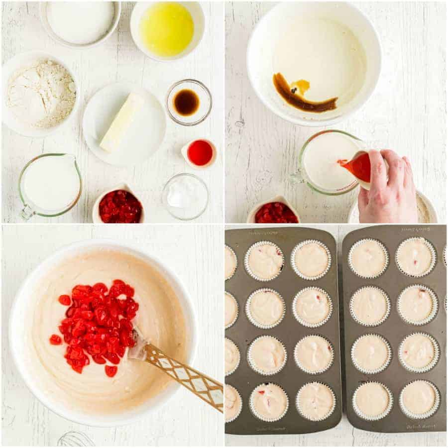 how to make cherry chip cupcake batter collage of 4 pictures