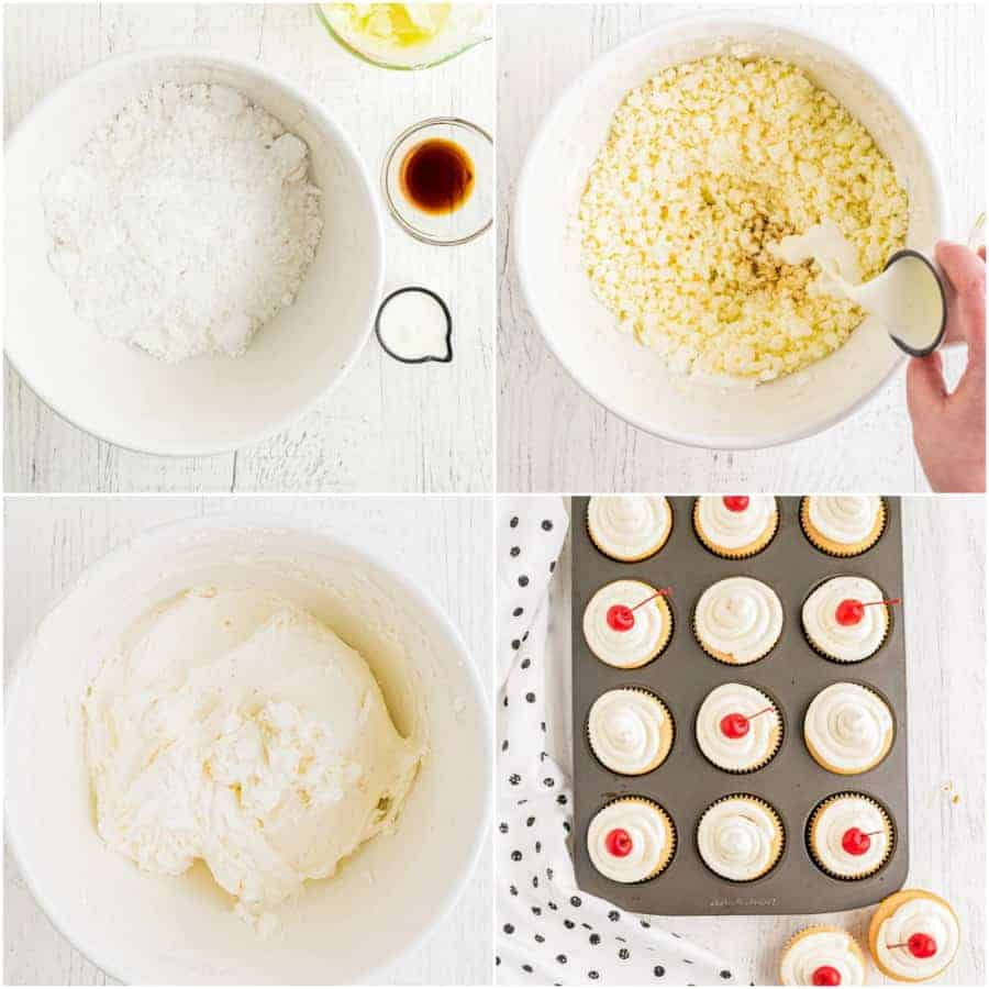 how to make cherry chip frosting collage of 4 pictures
