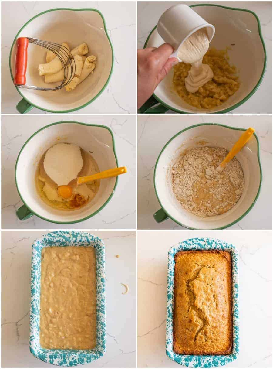 collage on how to make sourdough banana bread step by step