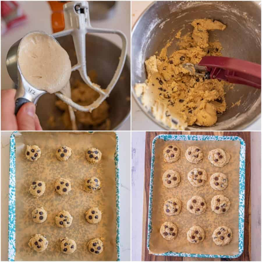 collage of 4 pictures on how to make sourdough chocolate chip cookies