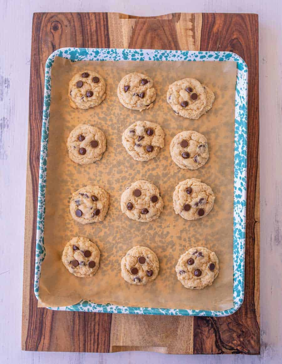 baked cookies on a blue and white speckled pan