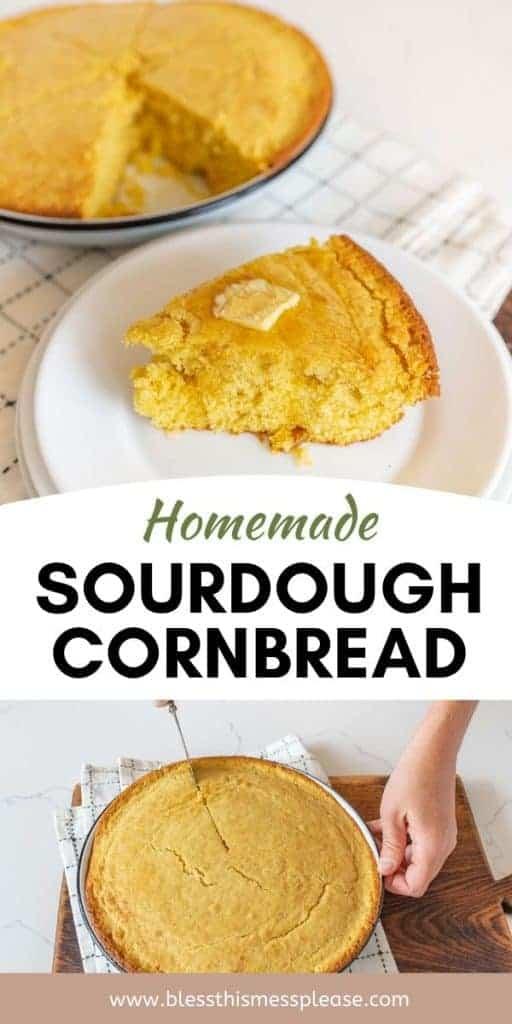 sourdough cornbread pinterest pin with text
