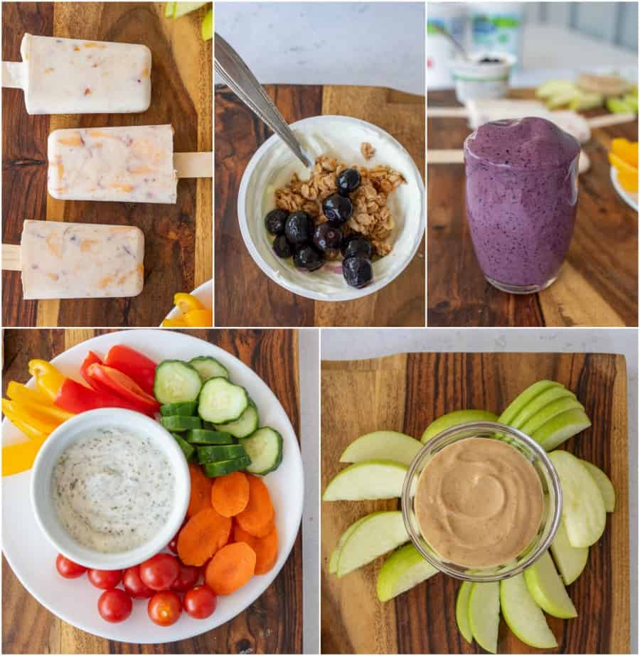 collage of 5 healthy snacks ideas