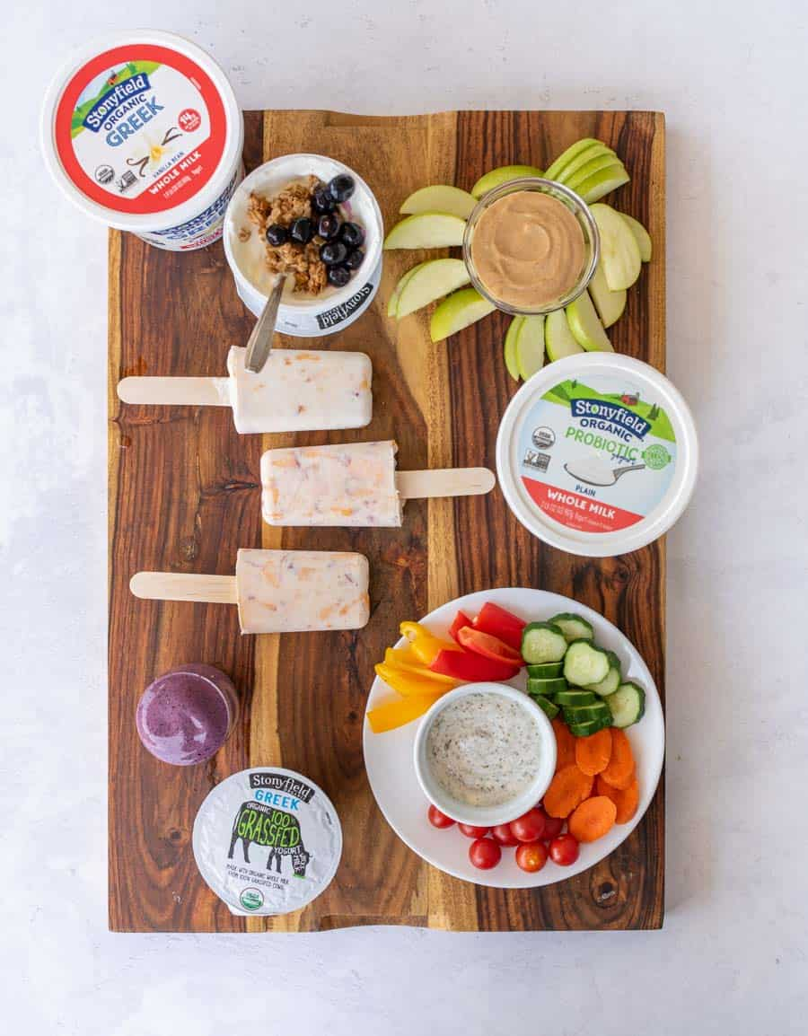 healthy snacks for kids on tray