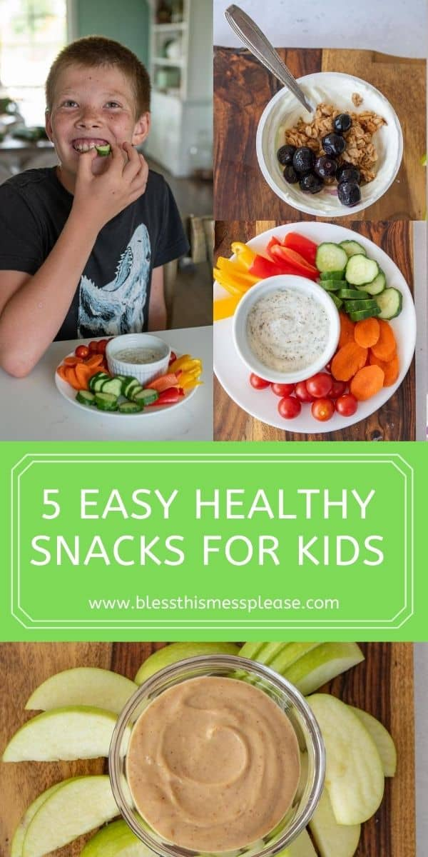 pin collage with text of kids eating and snacks