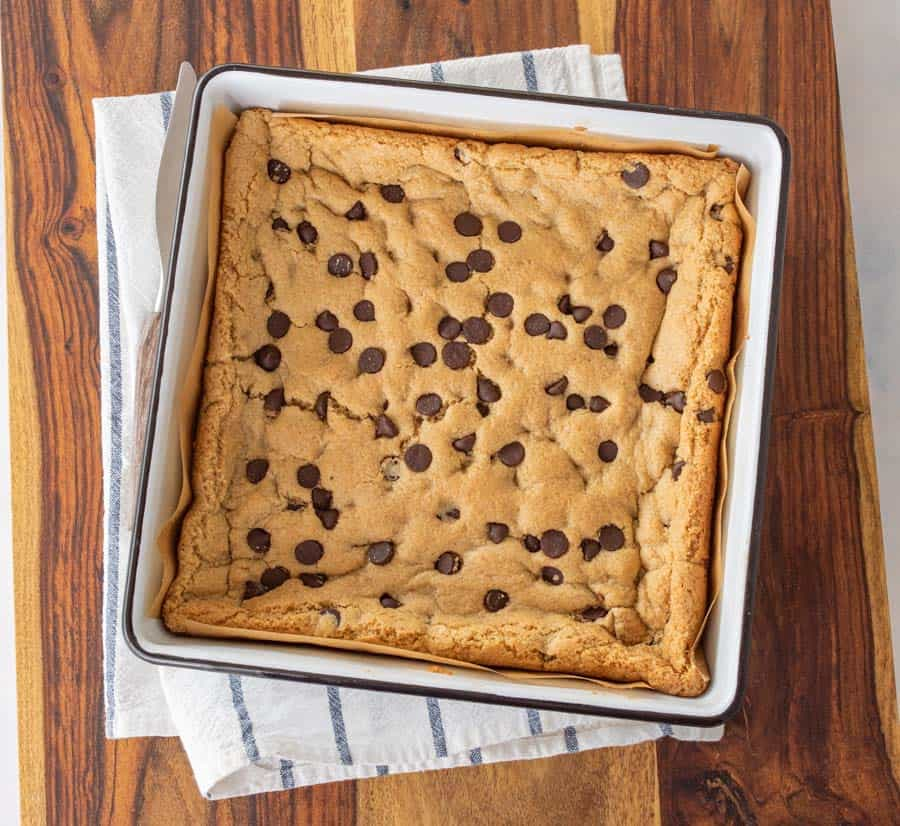 baked cookie bars in pan