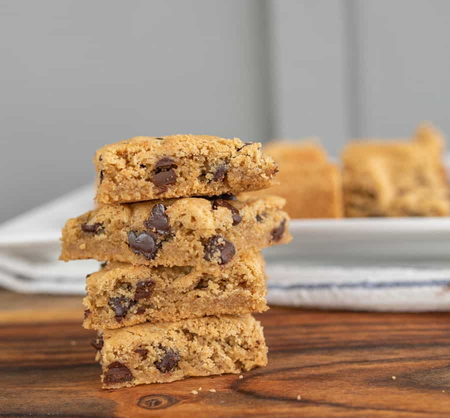 side view of stack of cookie bars
