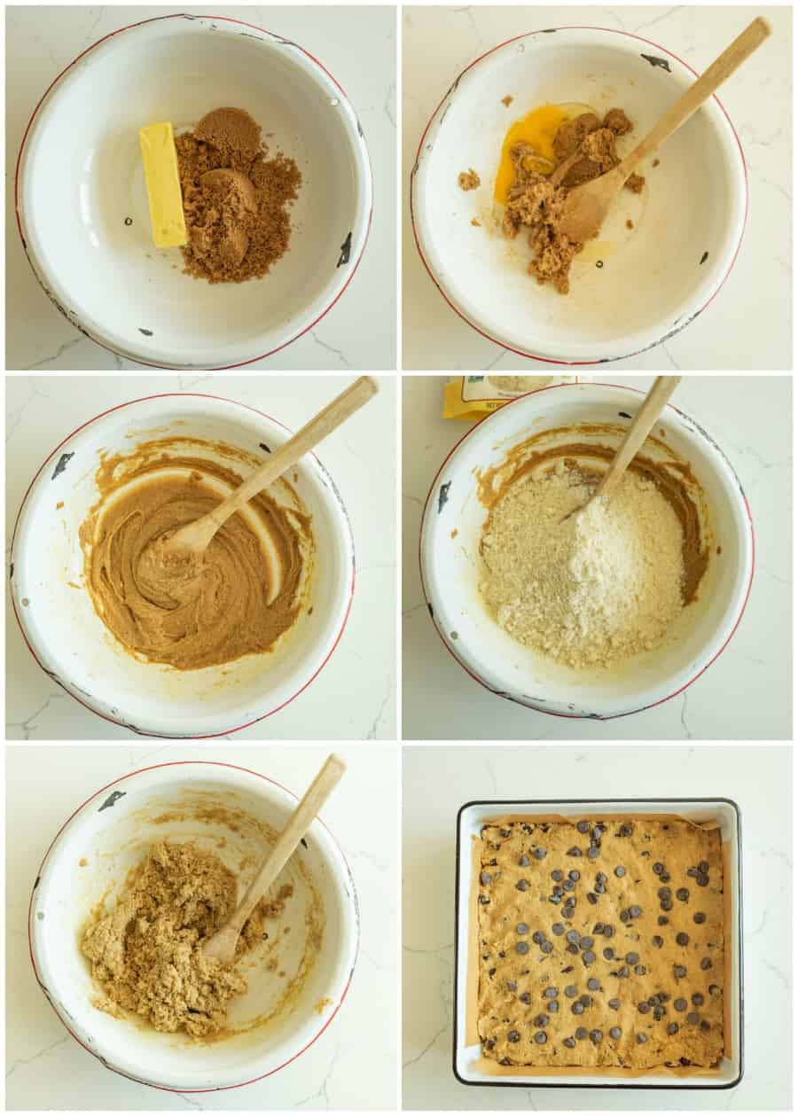 6 picture collage of step by step photos of how to make a chocolate chip cookie bar