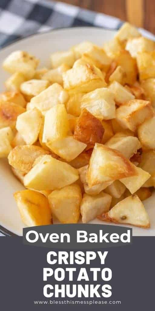 crispy baked potato cubes on a plate with text on the image
