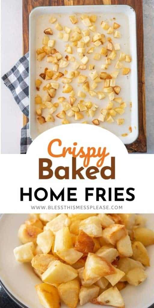 crispy baked potato cubes on a baking sheet and on a plate with text on the image