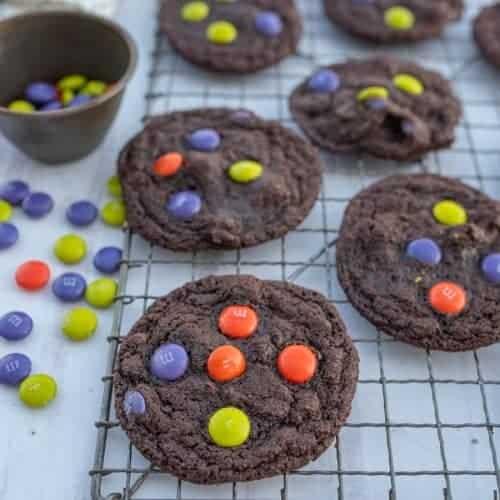 Dark Chocolate Halloween M&M Cookies