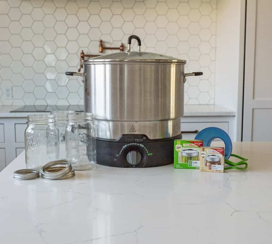 jars, canner, and supplies needed to can