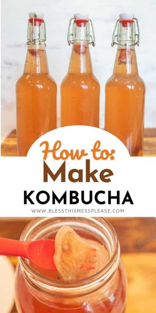 three bottles and mason jar filled with pink kombucha with text on image