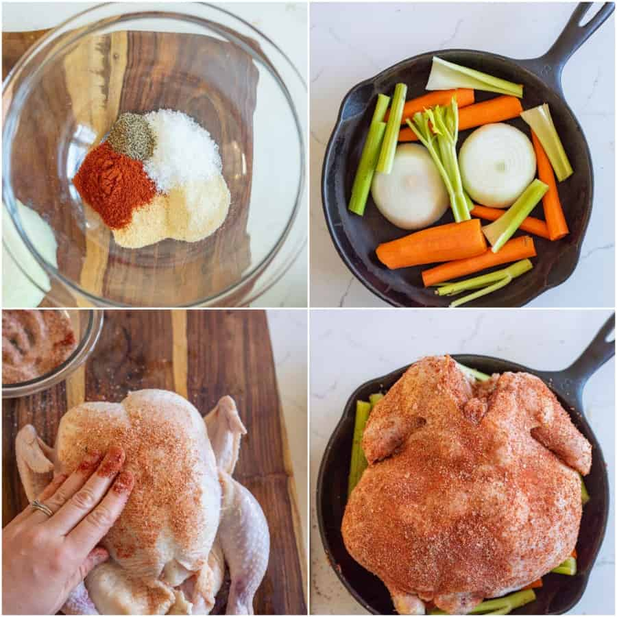 collage on how to roast a whole chicken