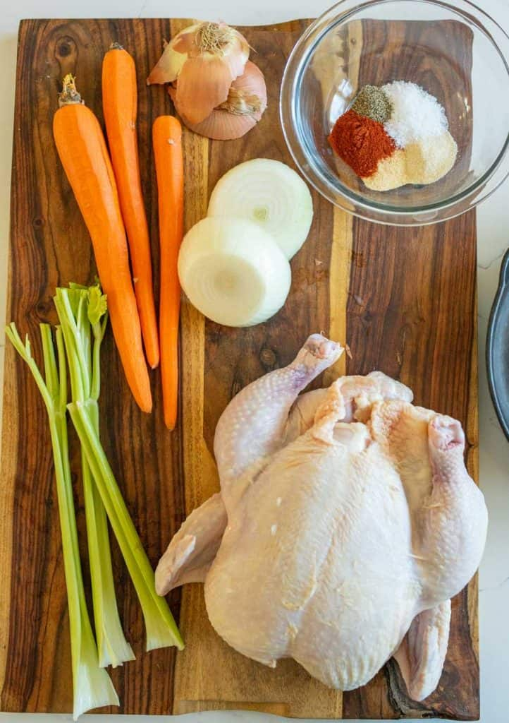 whole roasted chicken in cast iron skillet