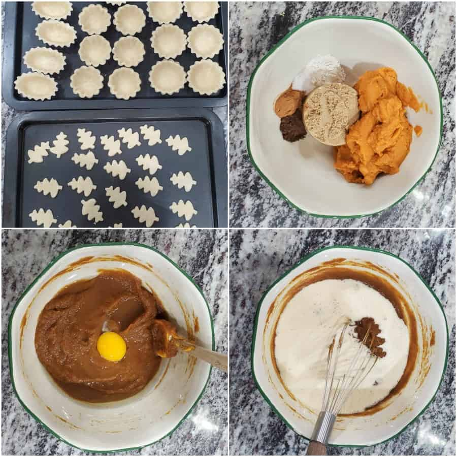 collage on how to make mini pumpkin pies
