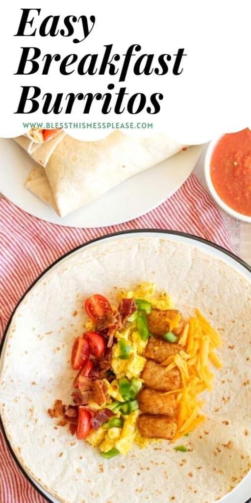 """the ingredients for breakfast burritos laid out on a tortilla with the words """"easy breakfast burritos"""" written at the top"""