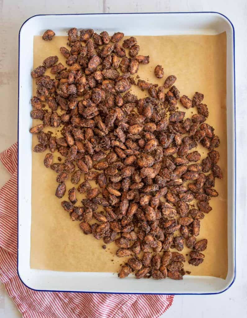 top view of candied almonds on baking sheet
