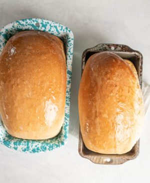 top view of two loaves of white sandwich bread