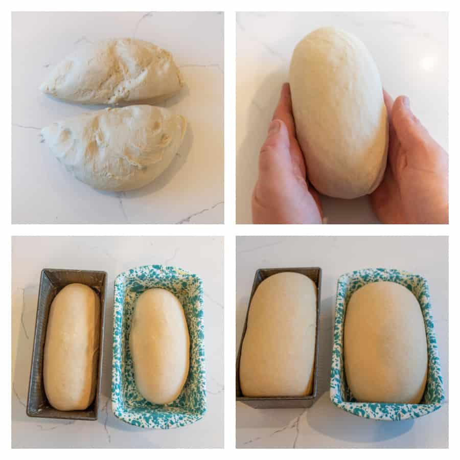 Four photo collage on how to make white sandwich bread. The first photo is of the bread dough cut into two pieces. The second photo is of the bread dough shaped into a loaf. The third photo is of the dough in the loaf pans before they have risen. The last photo is of the loaves of dough after rising in the loaf pans.