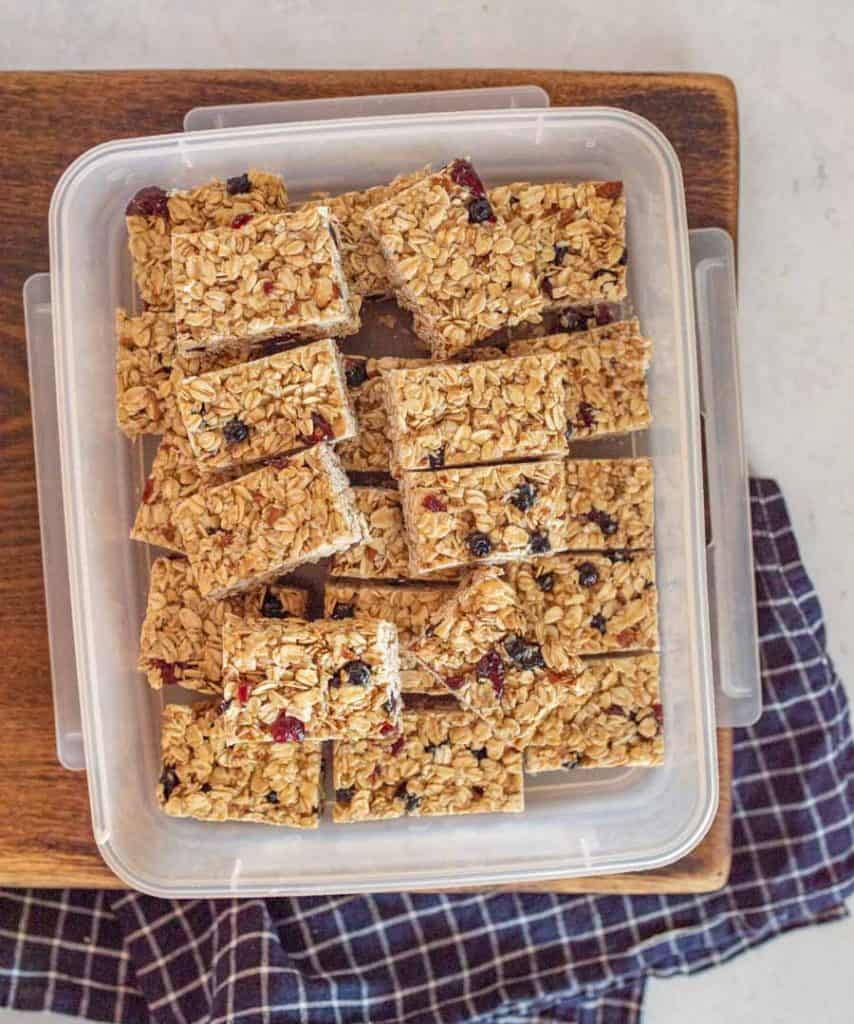 top view of granola bars in a plastic container