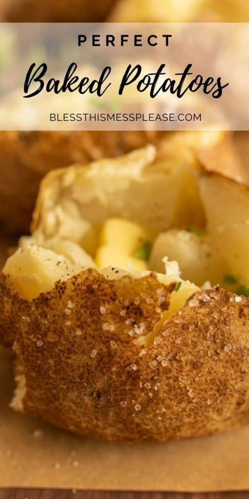 """Photo of a baked potato cut open with butter and parsley on top with the words """"perfect baked potatoes"""" written on the top"""