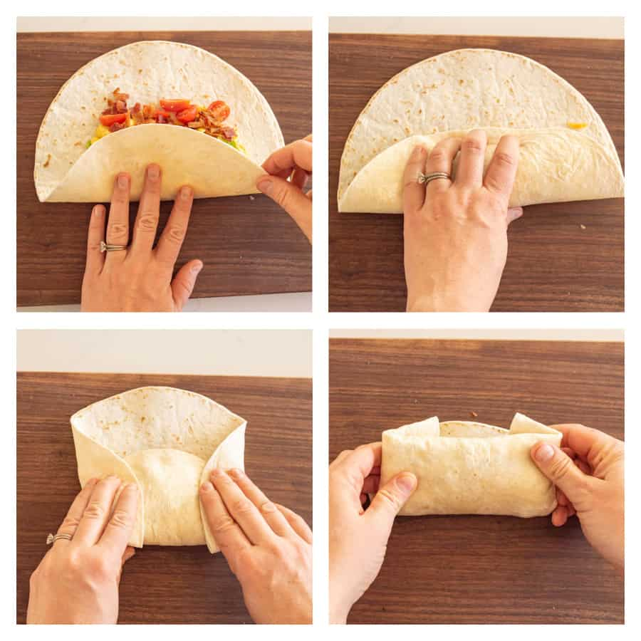 4 photo collage on how to fold a breakfast burrito. First photo is bottom half of tortilla being folded up. Second photo is of tortilla being rolled a bit. Third photo is of the sides of the tortilla being folded in. Last photo is tortilla being rolled closed.