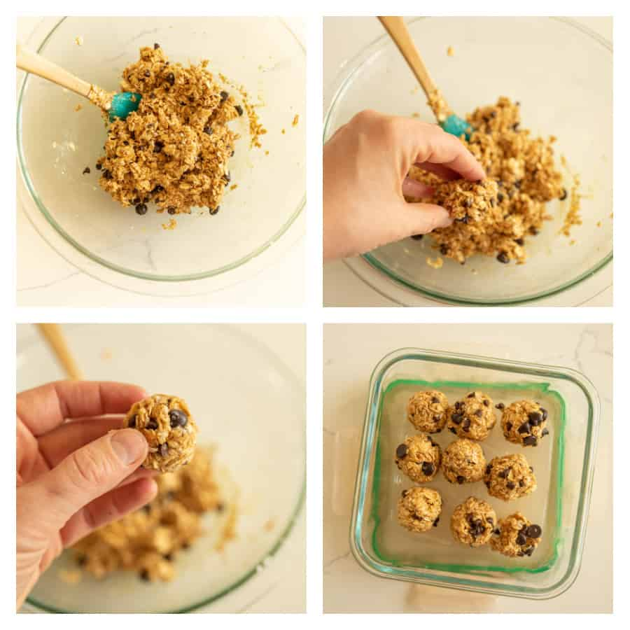 Four photo collage on how to make oatmeal peanut butter honey balls. The first photo is of the ingredients mixed in a glass bowl. The second photo is of a hand grabbing some of the mixture from the bowl. The third photo is of a hand holding an oatmeal peanut butter honey ball. The fourth photo is of a glass container filled with the oatmeal balls.