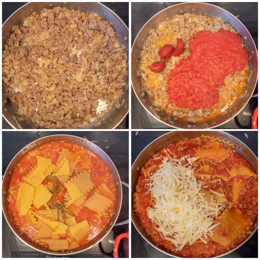 Four photo collage on how to make skillet lasagna. The first photo is of beef browned in a skillet. The second photo is of the tomato products added to the skillet. The third photo is of the lasagna noodles added to the skillet. The last photo is of cheese added to the skillet.