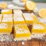 lemon bars sprinkled with powdered sugar