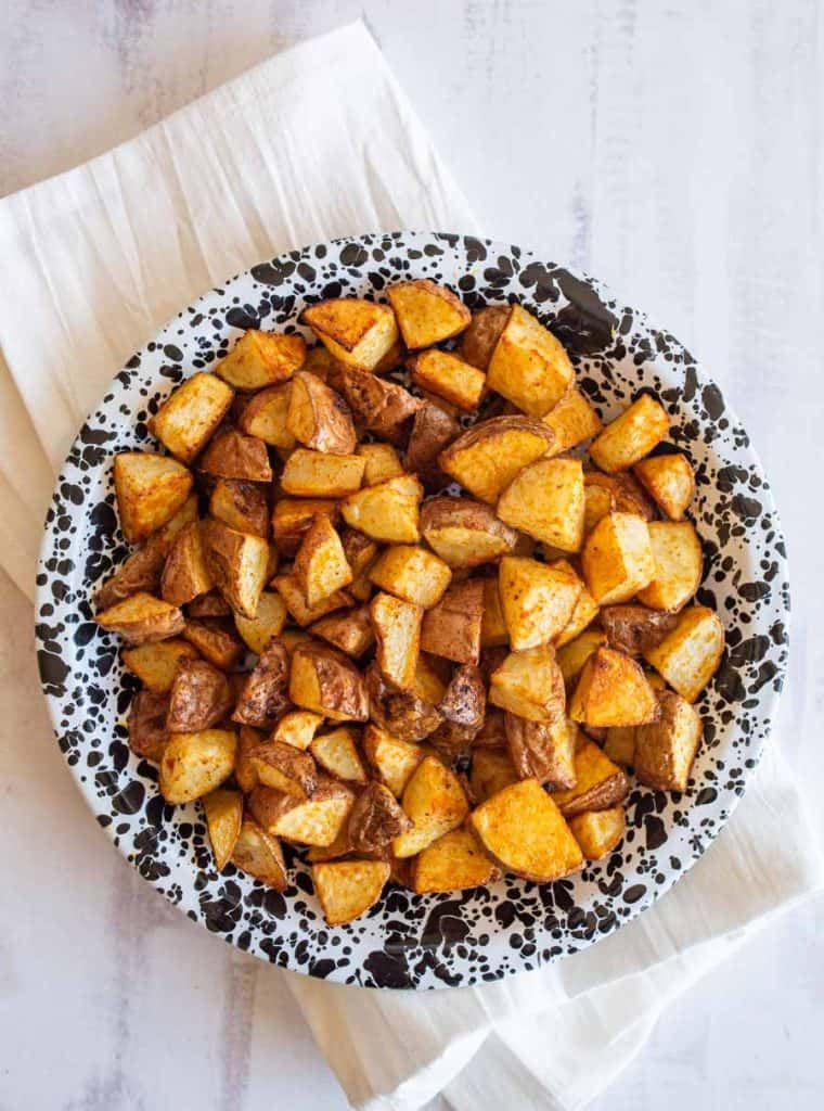 top view of bowl of roasted red potatoes