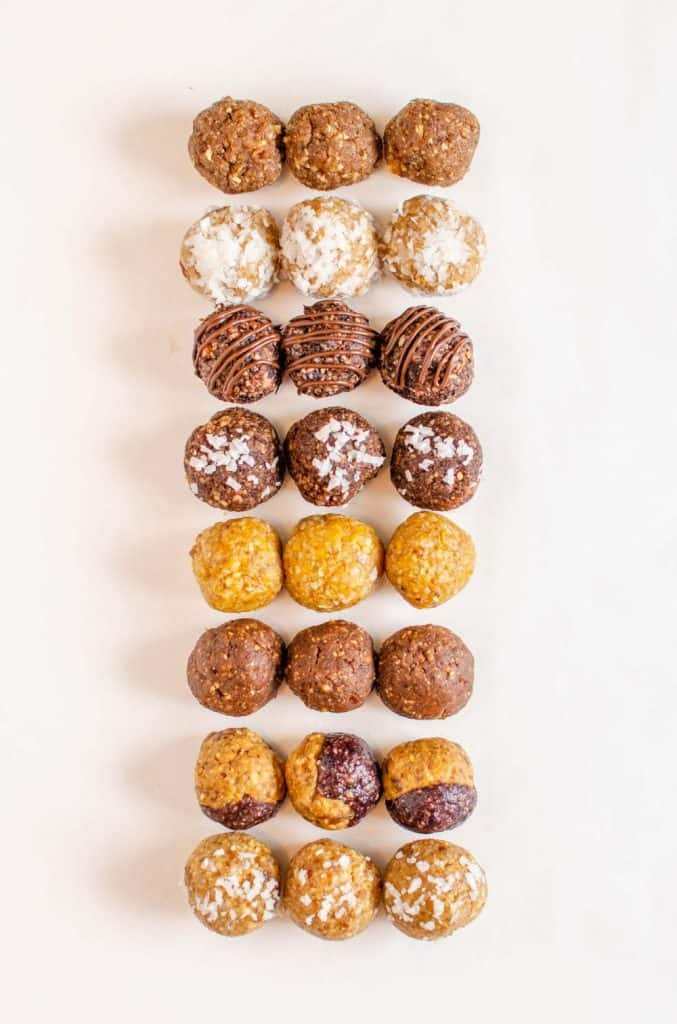 Rows of different types of date energy bites