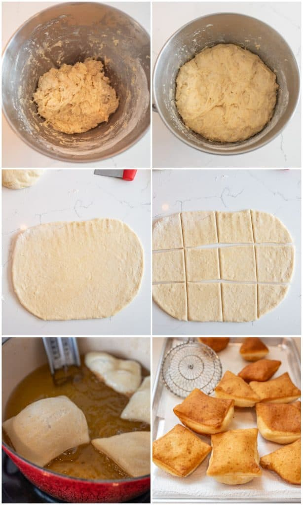 six picture collage of the steps to make beignets. top left is the dough before rising, top right is of the dough after rising, the middle left picture is of the dough rolled out, middle right picture is of the dough cut into square. The bottom left picture is of the beignet dough being fried and the bottom right picture is of the beignets already fried
