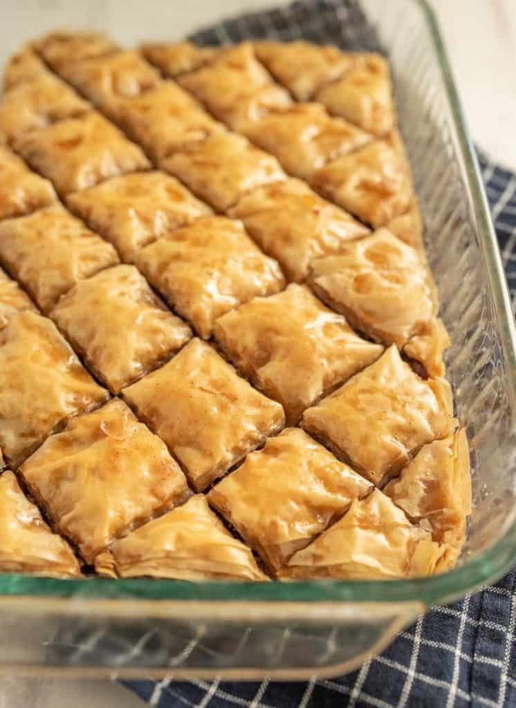 close up of baklava in a baking dish