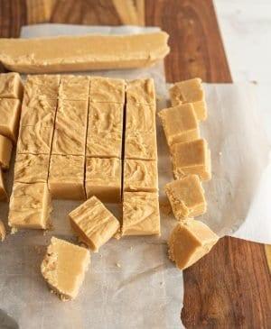 peanut butter fudge cut into squares