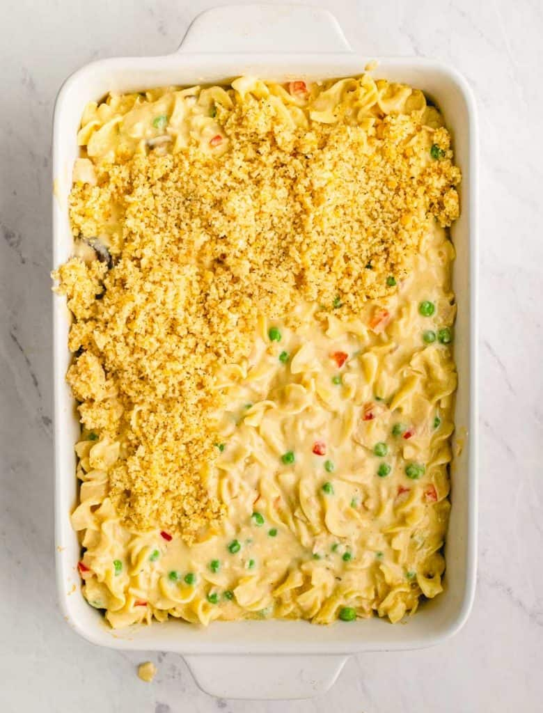 top view of a baking dish with tuna noodle casserole