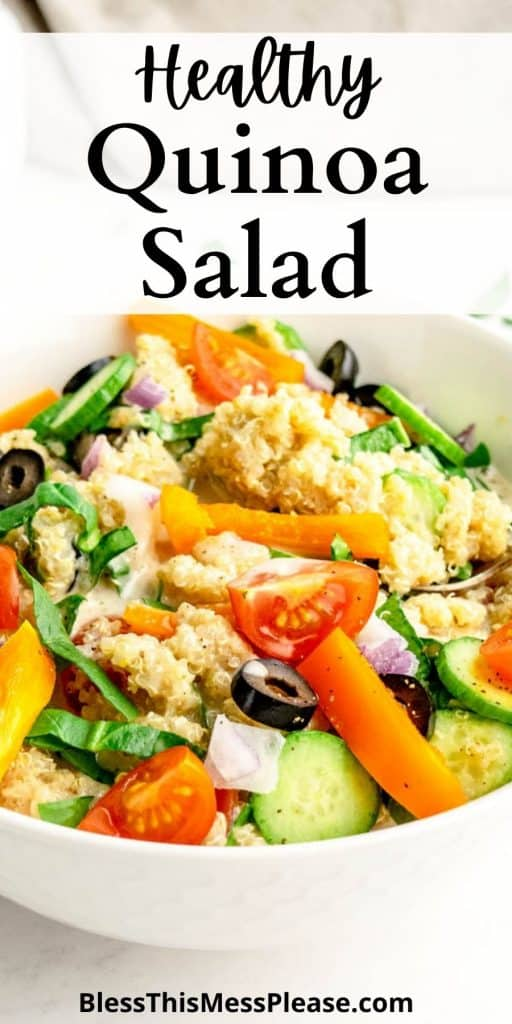 """picture of a bowl of quinoa salad with the words """"healthy quinoa salad"""" written at the top"""