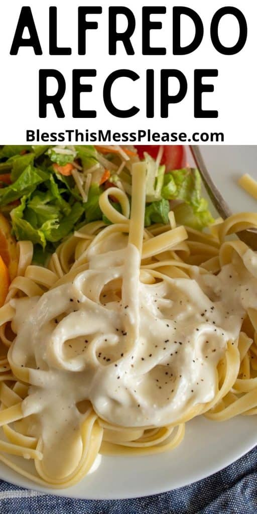 """close up picture of fettuccine alfredo on a plate with the words """"alfredo recipe"""" at the top"""