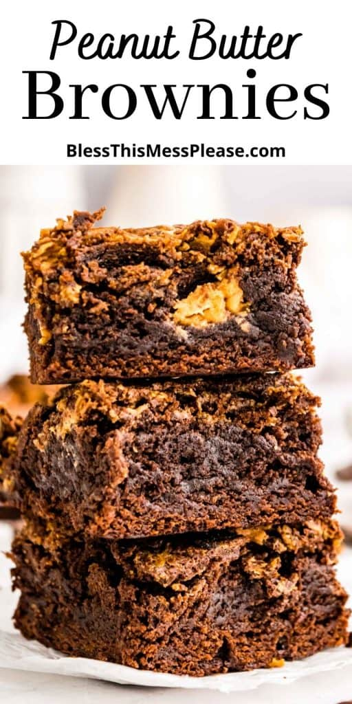 """peanut butter brownies stacked on top of each other with the words """"peanut butter brownies"""" written at the top"""