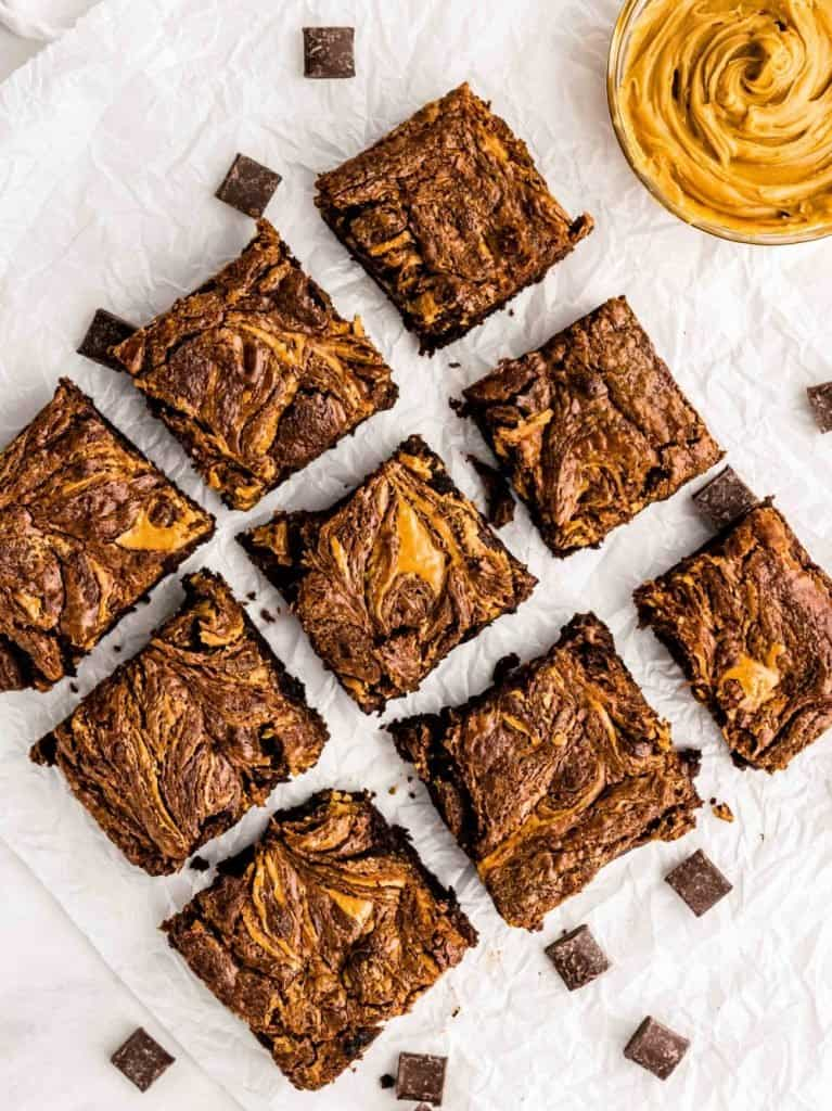 top view of squares of peanut butter brownies