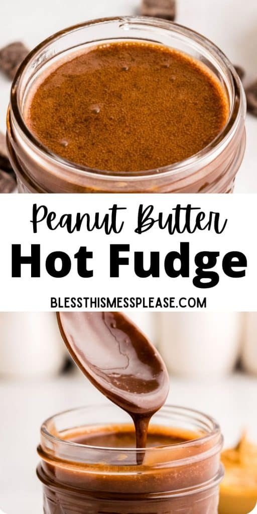 """top picture is the top view of a jar of peanut butter hot fudge, the bottom picture is of a spoon being pulled from a jar of hot fudge as hot fudge drips off it, with the words """"peanut butter hot fudge"""" written in the middle"""