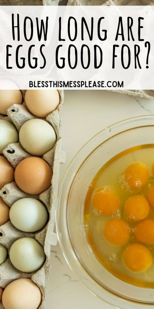 """top view picture of eggs in a carton next to a bowl of cracked eggs with the words """"how long are eggs good for"""" written at the top"""