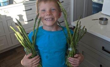 boy holding asparagus