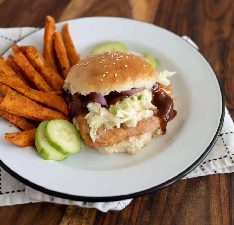 Grilled Pork Chop Sandwiches with 5 Minute Cole Slaw