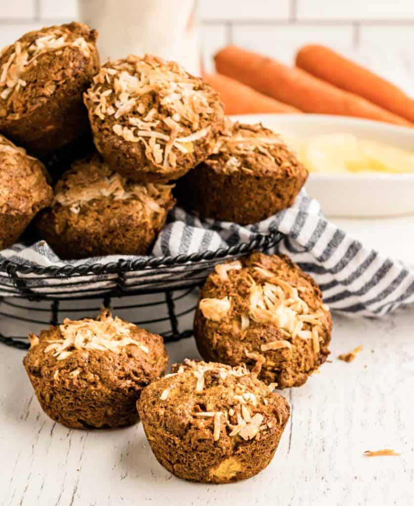 picture of morning glory muffins in front of and in a wire basket