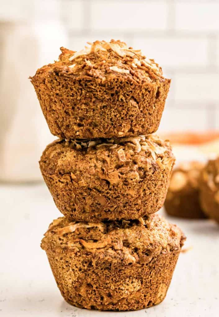 three morning glory muffins stacked on top of each other