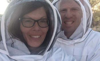 Melissa and Thomas in bee suits