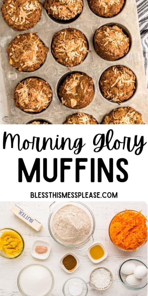 """morning glory muffins in a muffin tin with the words """"morning glory muffins"""" written at the top"""